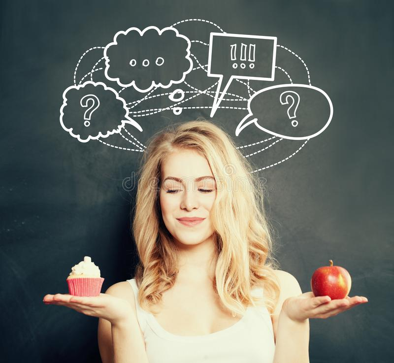 Diet and Overweight Concept. Cute Woman stock images