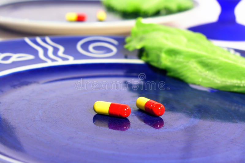 Download Diet pills stock image. Image of dinner, blue, dieting - 15437627