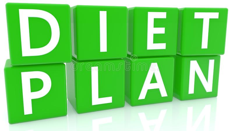 Diet plan concept on green cubes stock illustration