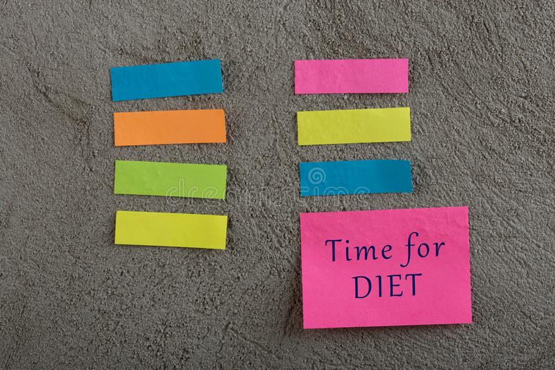 Diet plan concept - Many colorful sticky note with words fitness, organic, weigh loss, green energy, gluten free, lactose free,. Diet plan concept - Many stock image