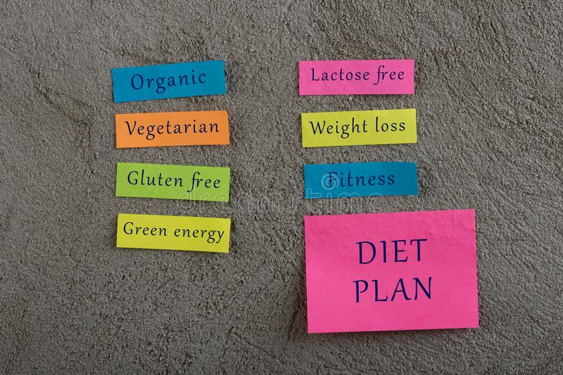 Diet plan concept - Many colorful sticky note with words fitness, organic, weigh loss, green energy, gluten free, lactose free,. Vegetarian on grey cement royalty free stock photo
