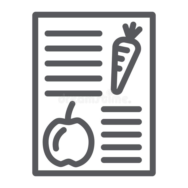 Diet plan line icon, health and meal, balanced meal sign, vector graphics, a linear pattern on a white background. stock illustration