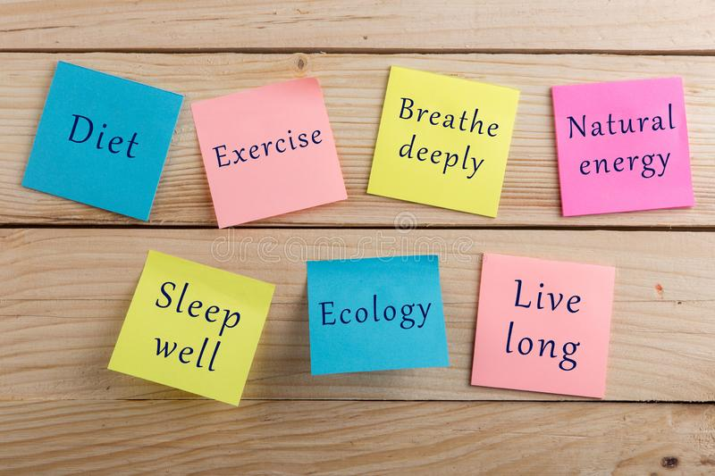 Diet plan and motivation be healthy concept - Many colorful sticky note with words diet, exercise, breathe deeply, natural energy. Sleep well, ecology, live stock photography