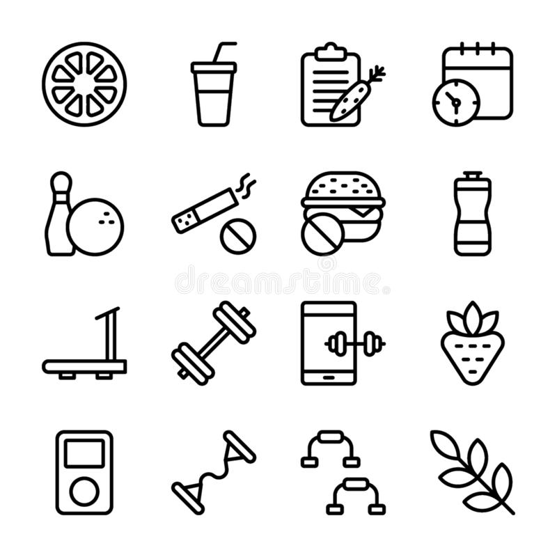 Diet Plan, Sports Supplement, Nutrition Icons Bundle royalty free illustration
