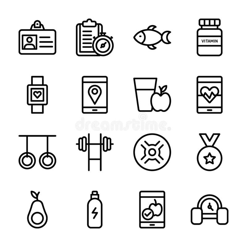 Diet Plan, Sports Supplement, Nutrition Icons Collection stock illustration
