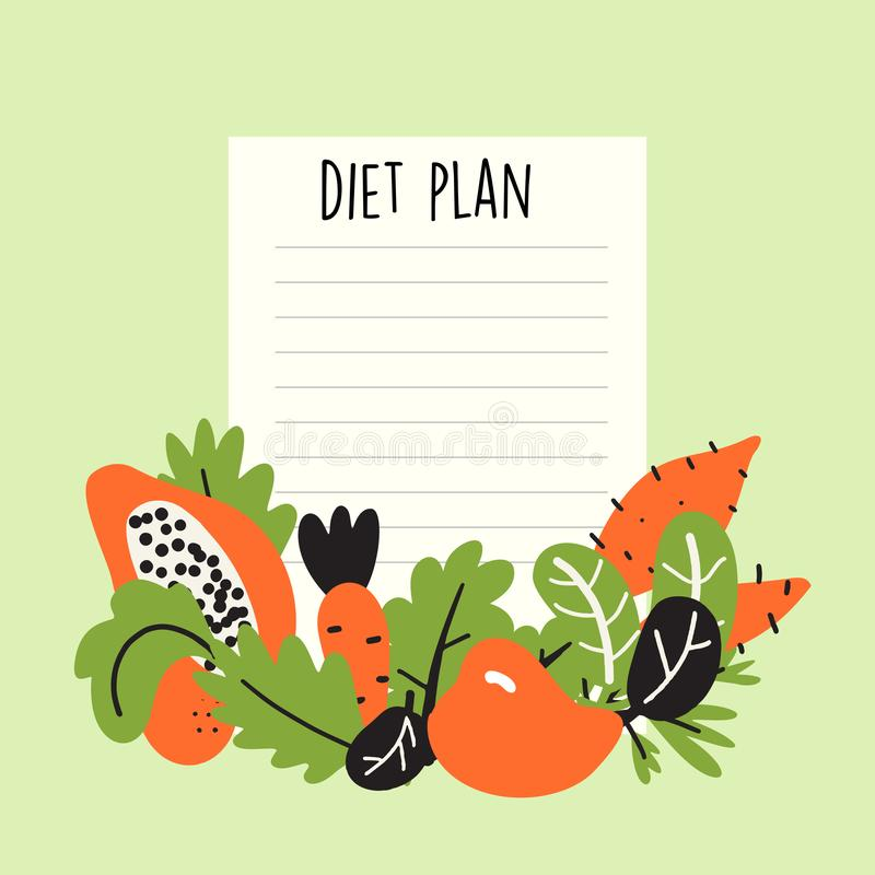 Diet plan. Vector illustration of fruits and vegetables with text space. royalty free illustration
