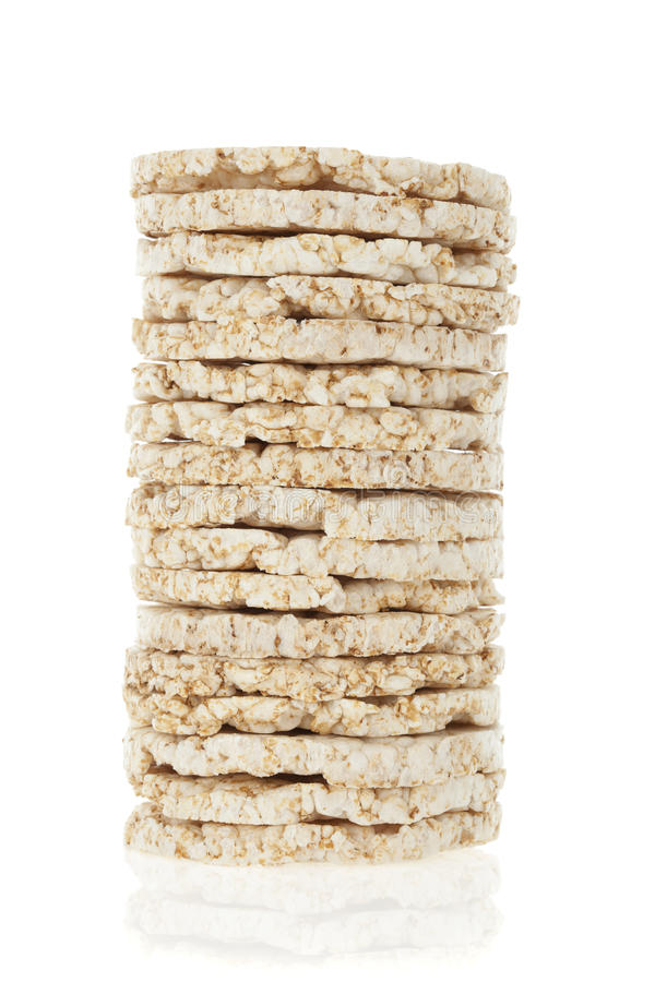 Diet rice cakes pile isolated royalty free stock photography