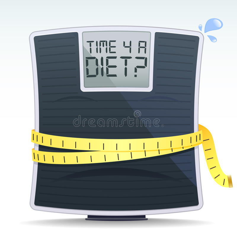 Diet Scales. An illustration of a set of scales in need of a diet and the text Time 4 A Diet royalty free illustration