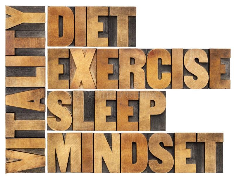 Diet, sleep, exercise and mindset - vitality royalty free stock photo