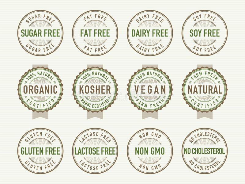 Diet stamps and seals vector illustration