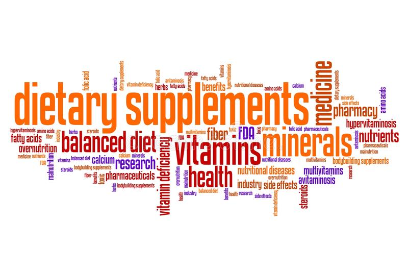 Diet supplements. Dietary supplements concepts word cloud illustration. Word collage concept stock illustration