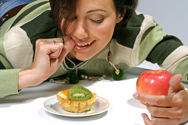 Download Diet  Temptation - Cake Against Apple Stock Photo - Image of diet, apple: 5147590