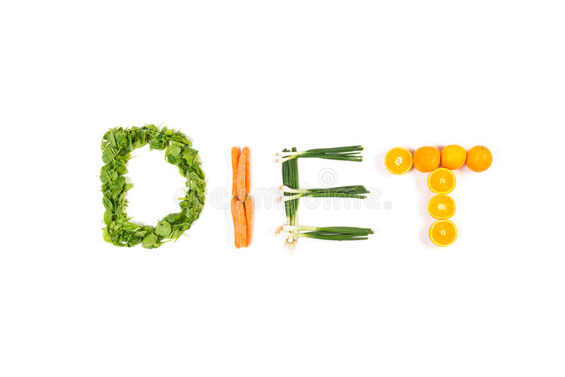 DIET text made out of fruits and vegetables isolated on white royalty free stock photo