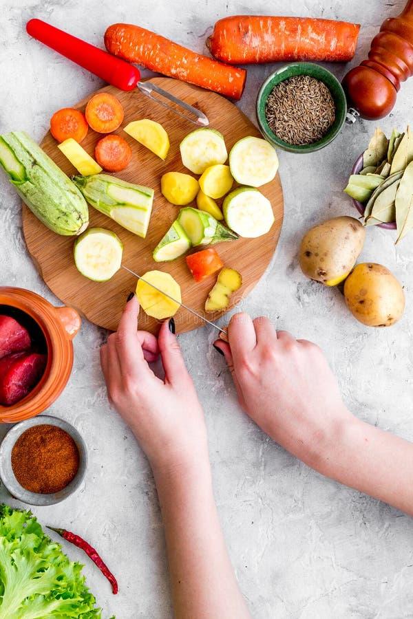 Diet vegetarian vegan food. Ratatouille or vegetable ragout. Stone table background top view stock images