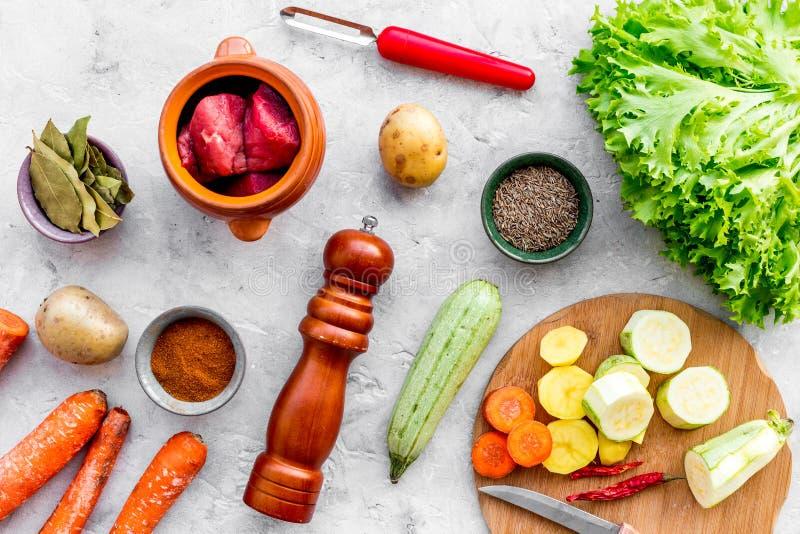 Diet vegetarian vegan food. Ratatouille or vegetable ragout. Stone table background top view royalty free stock photo