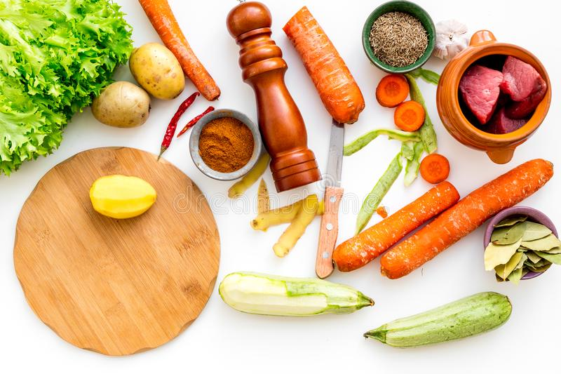 Diet vegetarian vegan food. Ratatouille or vegetable ragout. White table background top view stock photography