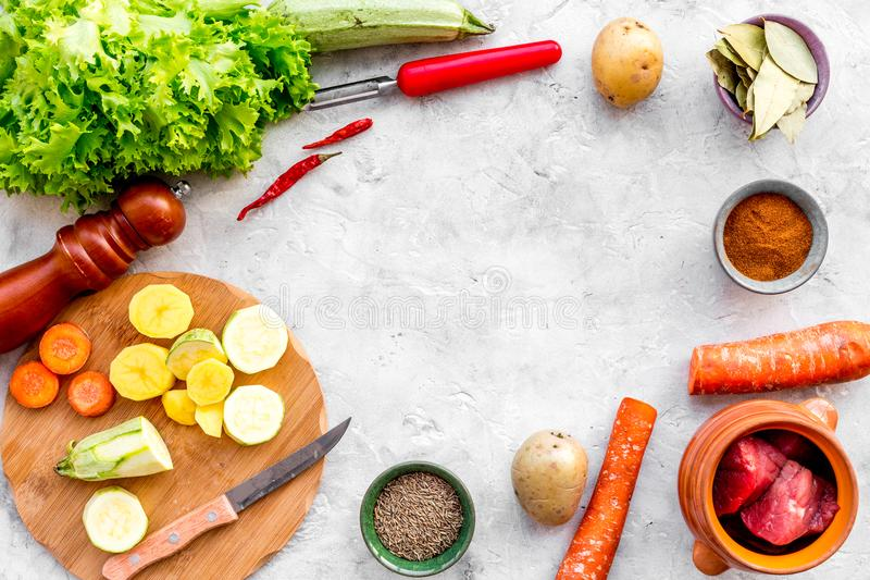 Diet vegetarian vegan food. Ratatouille or vegetable ragout. Stone table background top view space for text stock images