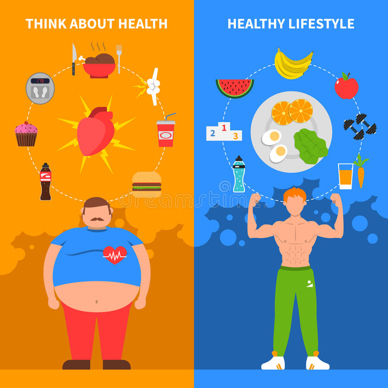Healthy lifestyle people sport activity food fruit diet banners Premium Vector
