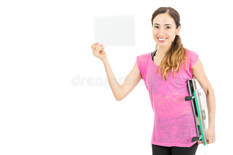 Diet woman holding a board with copy space stock photo
