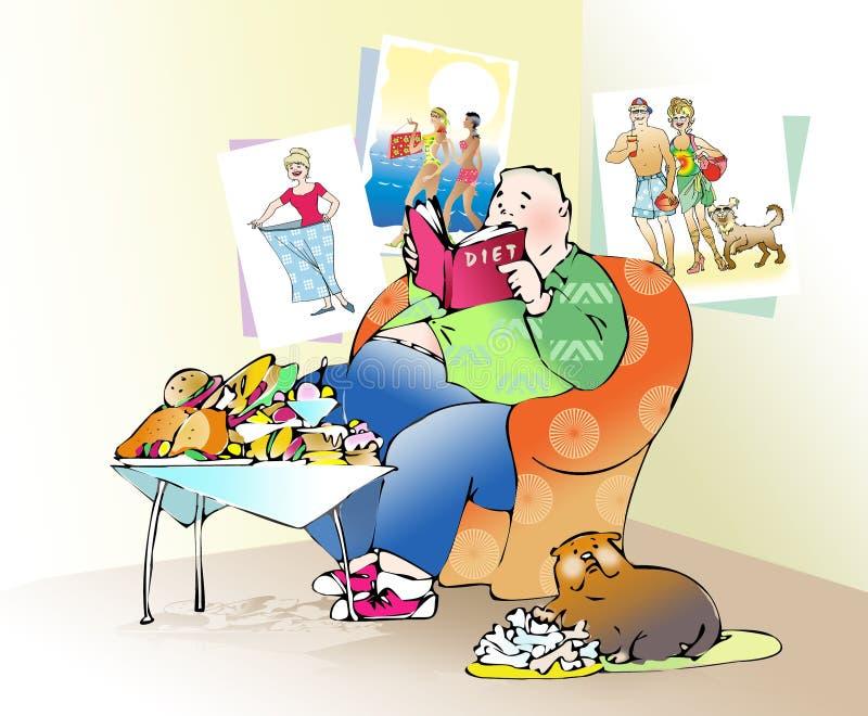 diet2 som förbereder sig stock illustrationer