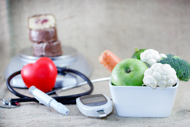 Dieta apropriada e equilibrada para evitar o diabetes imagens de stock