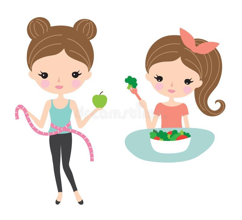 Dieta bonita de la mujer y consumición sana ilustración del vector
