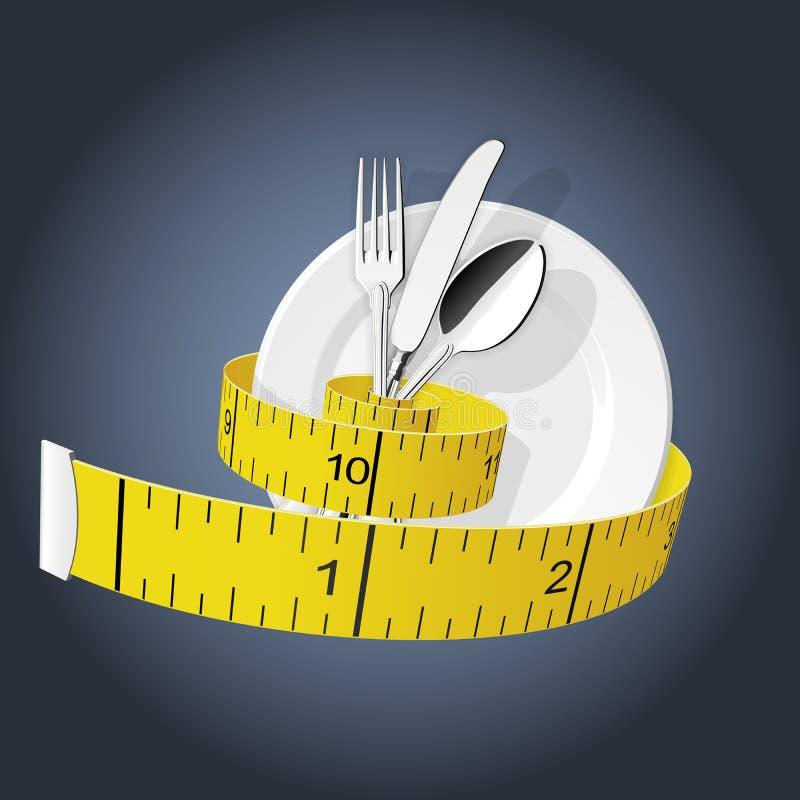 Dieta - cinta métrica apriete la bifurcación, la cuchara y la placa - pierda el peso stock de ilustración