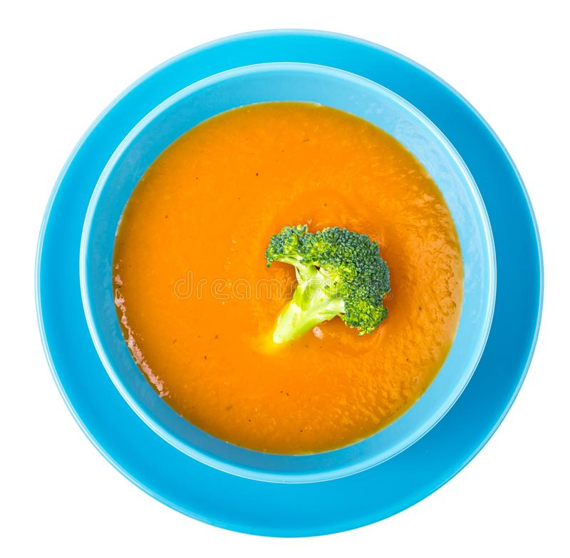 Dieta correcta y sana Sopa dietética de la calabaza con bróculi fotografía de archivo libre de regalías