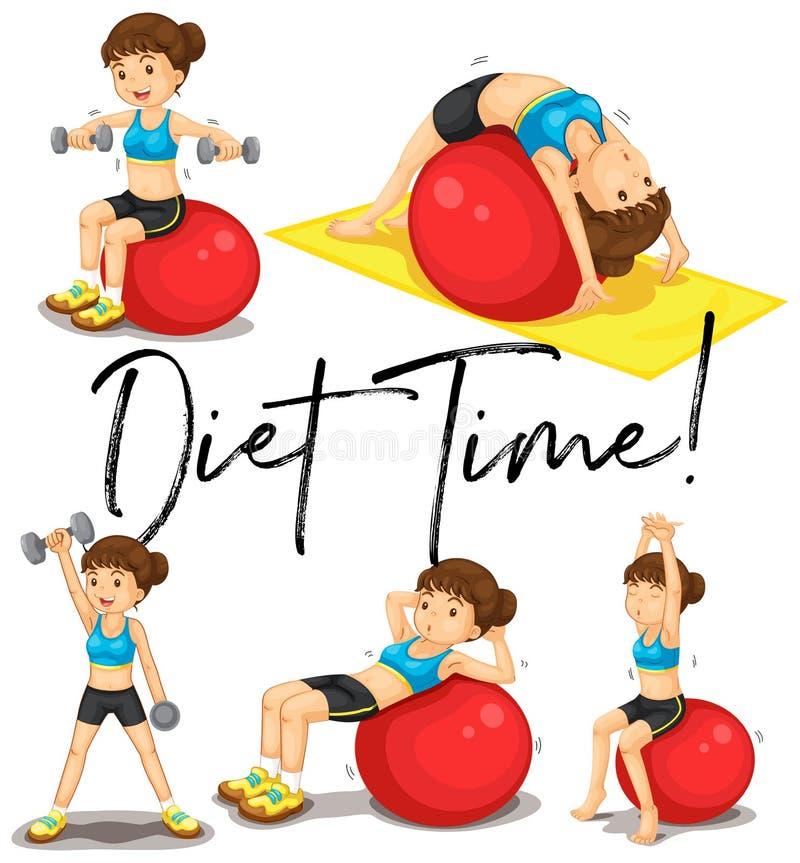 Dieta czasu plakat z kobietą ćwiczy z piłką royalty ilustracja