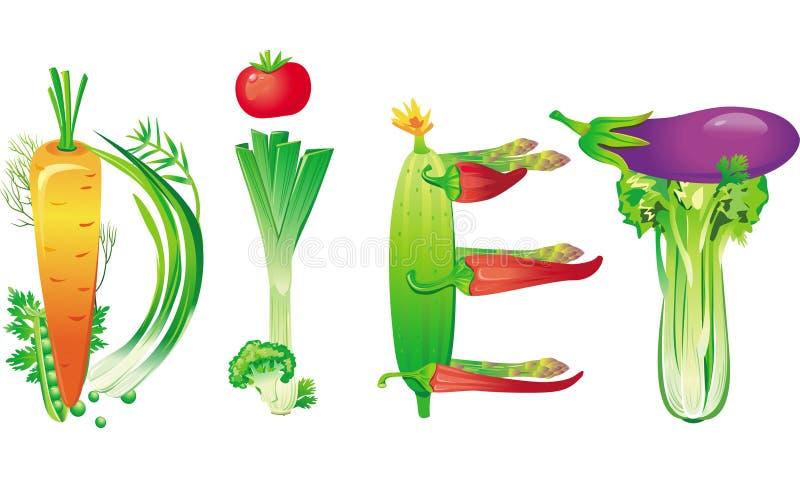 Dieta da palavra feita de legumes frescos ilustração royalty free