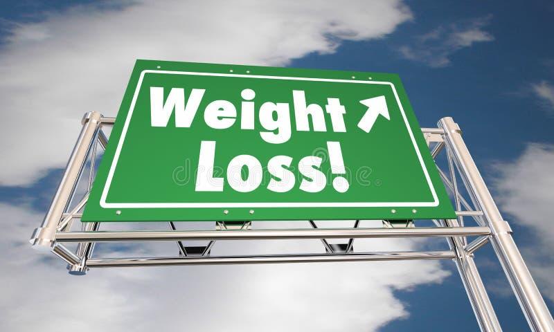 A dieta da perda de peso perde o sinal gordo da autoestrada da estrada ilustração royalty free