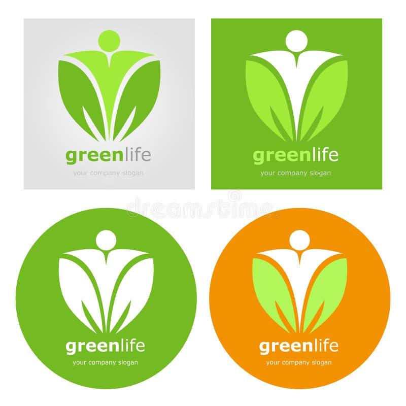 Dieta de alimento biológico ajustada logotipos do vegetariano do vegetariano Vida saudável do verde do estilo de vida Etiqueta do ilustração stock