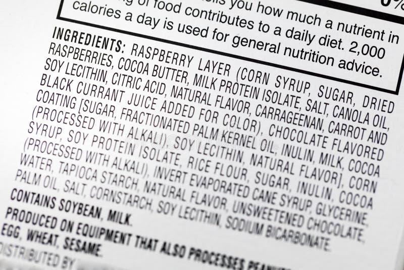 Dieta de la etiqueta del trigo del huevo de la leche de soja de los ingredientes imagen de archivo libre de regalías