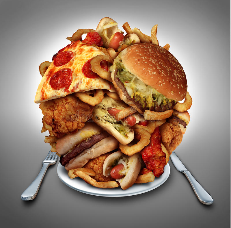 Dieta de los alimentos de preparación rápida ilustración del vector