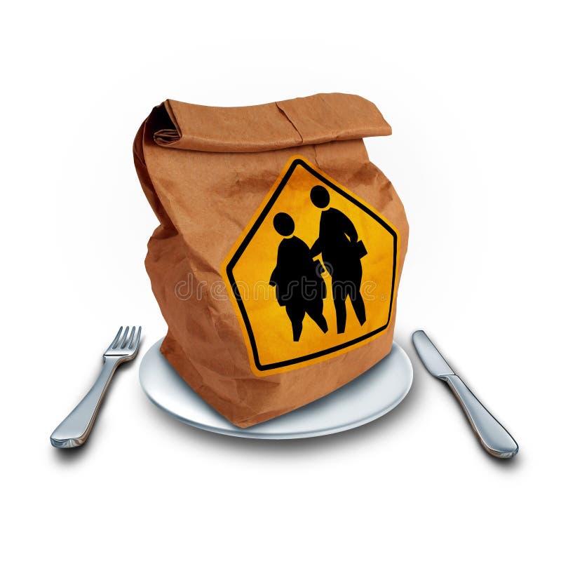 Dieta de obesidade da escola ilustração stock