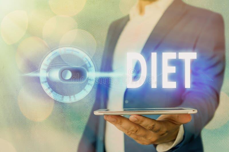 Dieta de texto manuscrito Conceito que significa estilo de vida saudável Reduzir a ingestão de alimentos Vegetariano Não ao coles fotografia de stock royalty free
