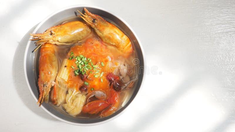 Dieta del gamberetto di Sukiyaki ed idea malesi giganti del menu di salute immagini stock libere da diritti