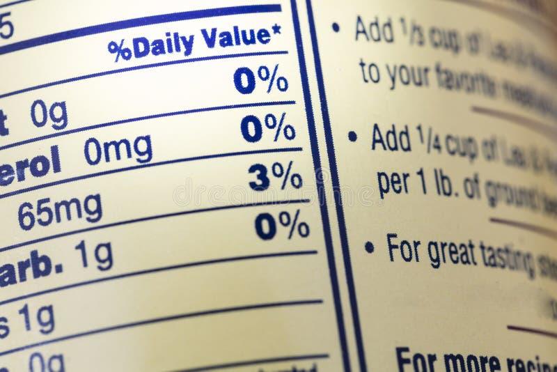 Dieta diaria de la etiqueta del hecho de la nutrición de la comida del valor imagen de archivo