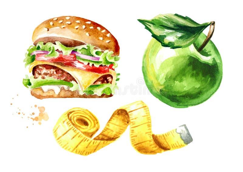 Dieta do conceito Alimento saudável com grupo do hamburguer ou de fita verde da maçã e da medição Ilustra??o tirada m?o da aquare ilustração royalty free