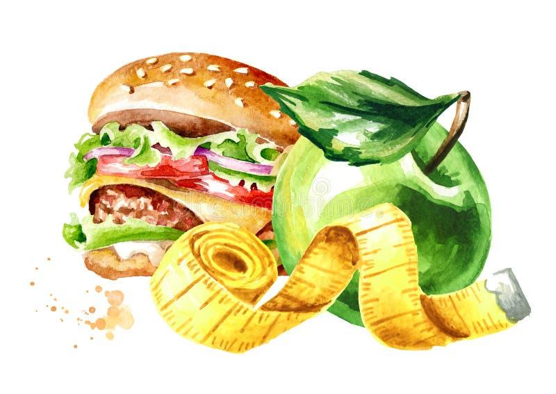 Dieta do conceito Alimento saudável com hamburguer ou a fita verde da maçã e da medição ilustra??o tirada m?o da aquarela, isolad ilustração stock