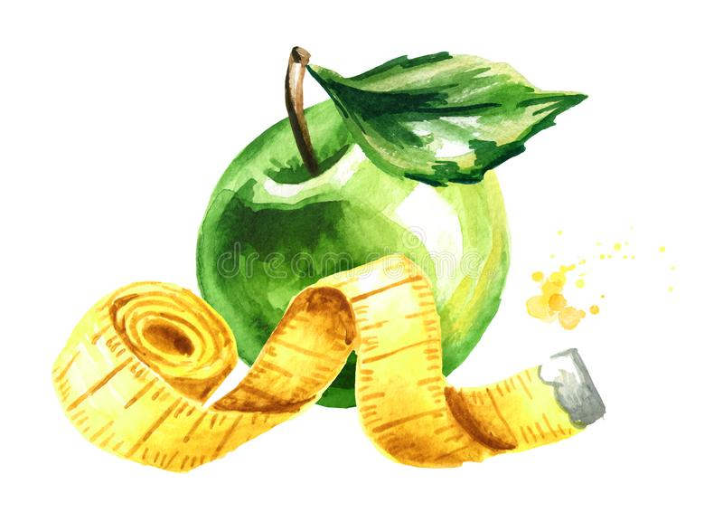 Dieta do conceito Alimento saudável com maçã verde e a fita de medição Ilustra??o tirada m?o da aquarela isolada no fundo branco ilustração stock