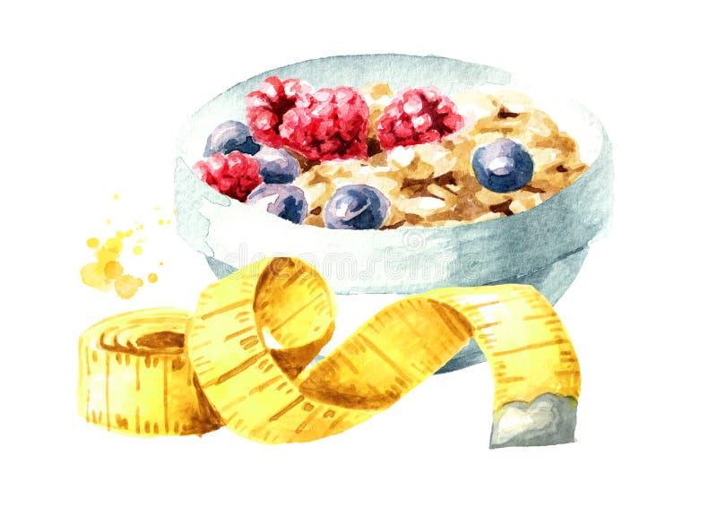 Dieta do conceito Alimento saudável com muesli e a fita de medição Ilustra??o tirada m?o da aquarela, isolada no fundo branco ilustração do vetor