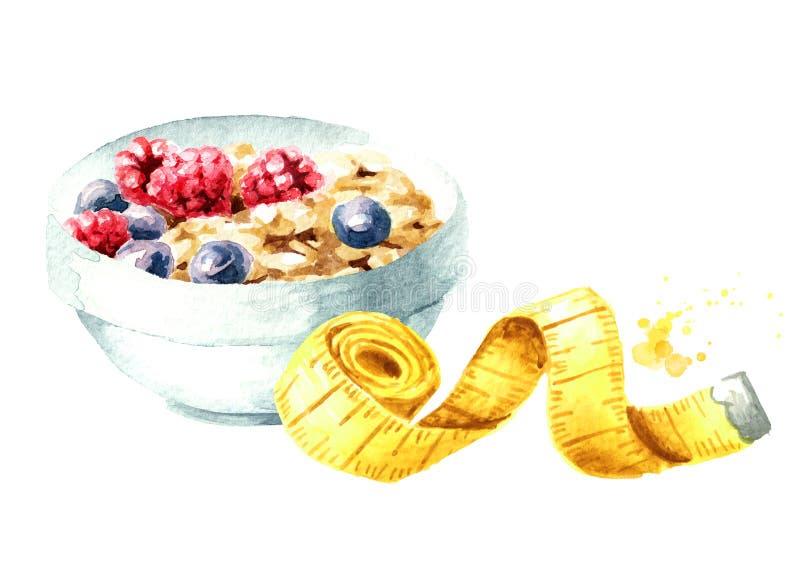 Dieta do conceito Alimento saudável com muesli e a fita de medição Ilustra??o tirada m?o da aquarela isolada no fundo branco ilustração royalty free