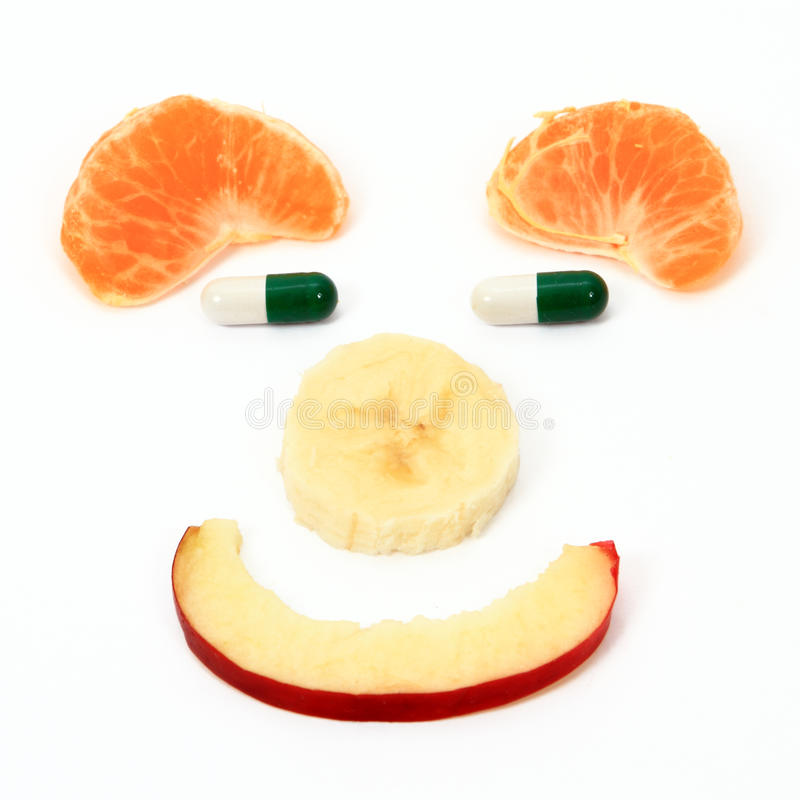 Dieta dos comprimidos das frutas imagem de stock royalty free