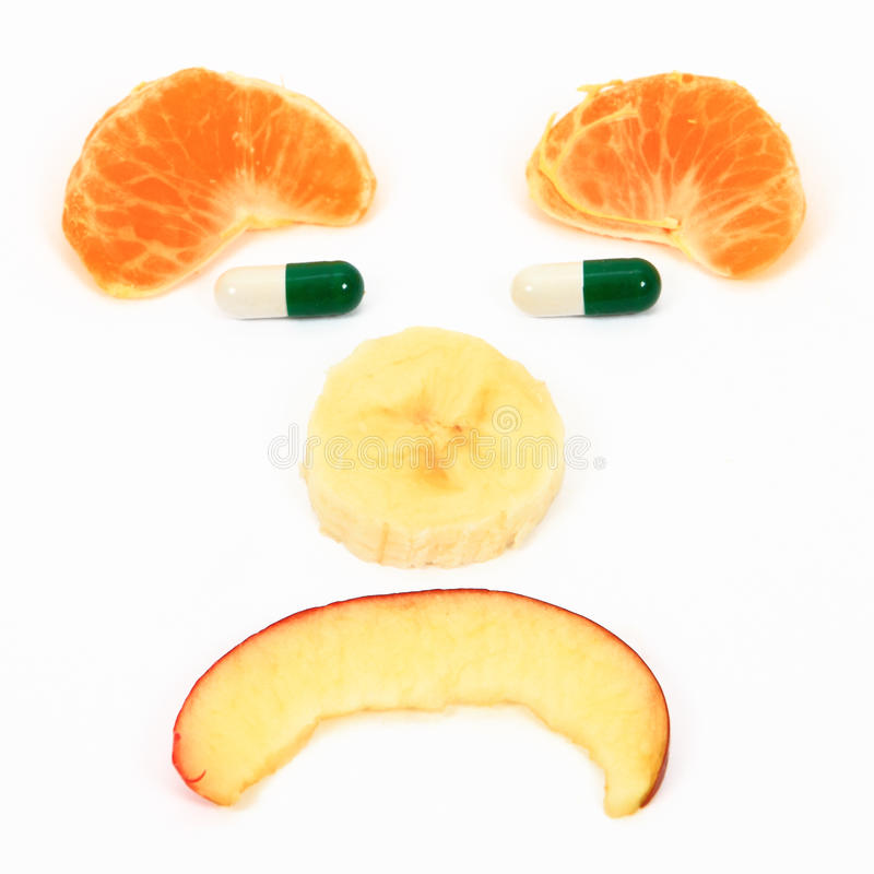 Dieta dos comprimidos das frutas fotos de stock royalty free