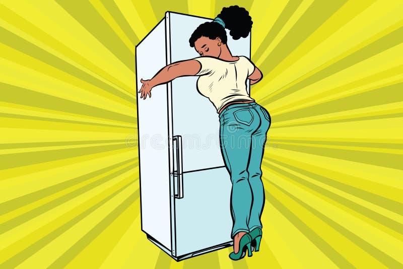 Dieta ed alimento Bella donna che abbraccia frigorifero domestico illustrazione di stock