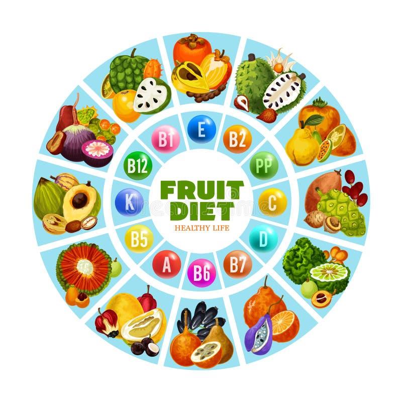 Dieta exótica da vitamina do fruto para o consumo diário ilustração do vetor