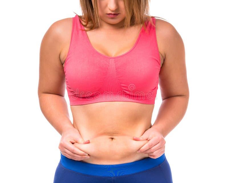 Dieta gorda de la mujer imagenes de archivo