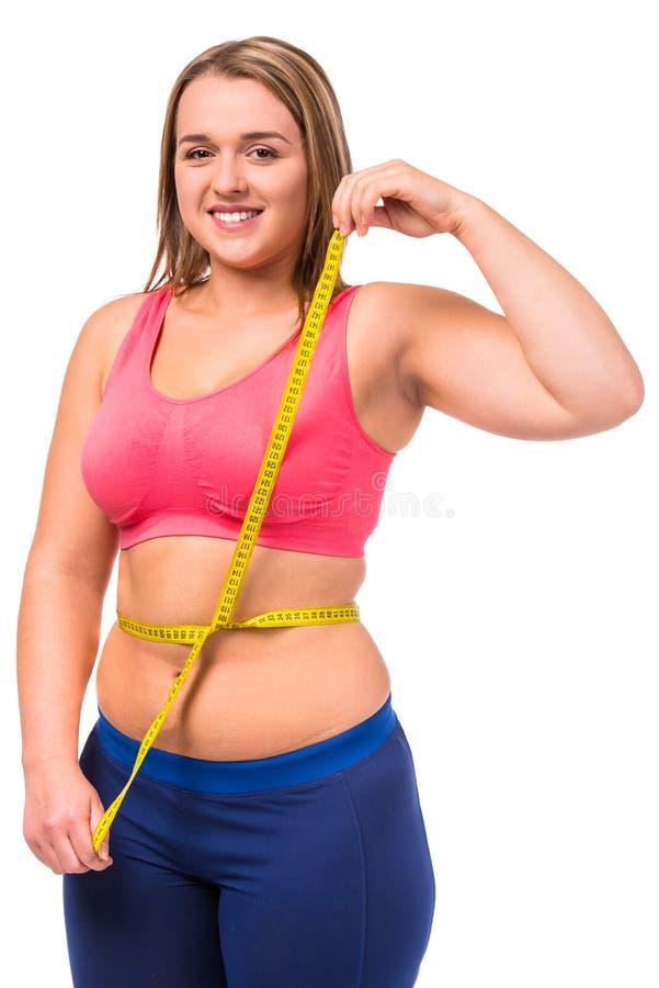 Dieta gorda de la mujer imágenes de archivo libres de regalías