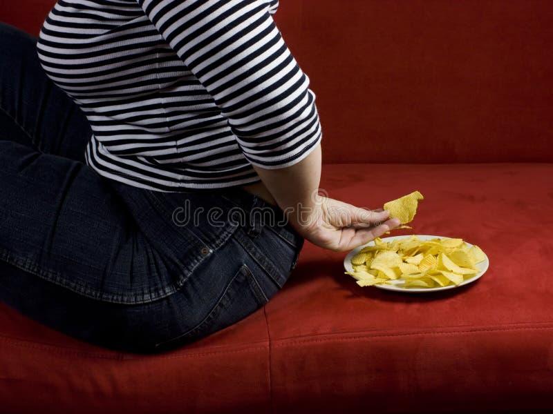 Dieta gorda de la mujer fotos de archivo